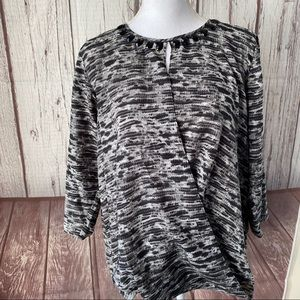 Michael Kors slit front top with beaded neck Large